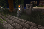 Some larger gravestones. Hmm, the one by the tree seems to have been broken or something.